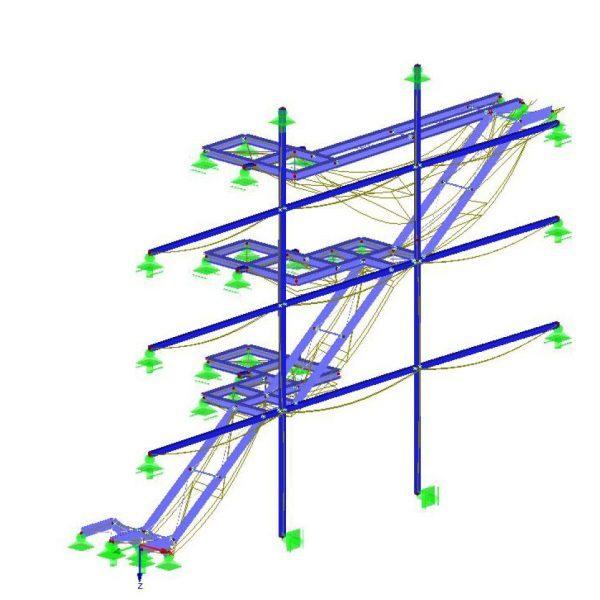 Treppenanlage an Fassadenstützen